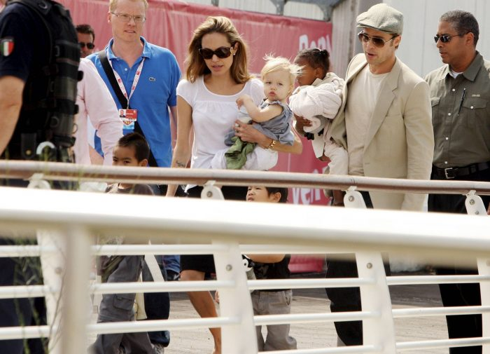 Photo © 2007 The Grosby Group  Venice, Sept 03 2007 Brad Pitt and Angelina Jolie take a water taxi with their children Maddox (b.August 5 2001), Pax (b. November 29, 2003), Zahara (b. January 8, 2005) and Shiloh (b. May 27, 2006).  (BG) *** Local Caption *** .