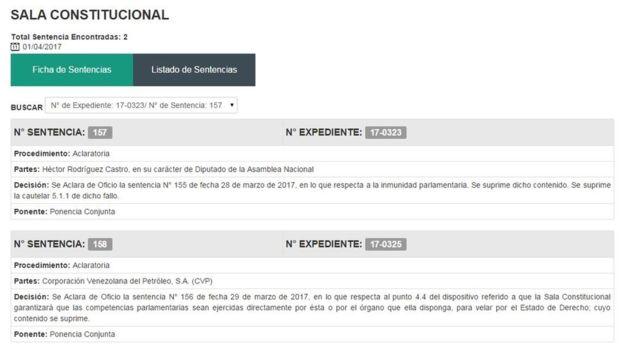En su página web, el TSJ publicó las nuevas sentencias.