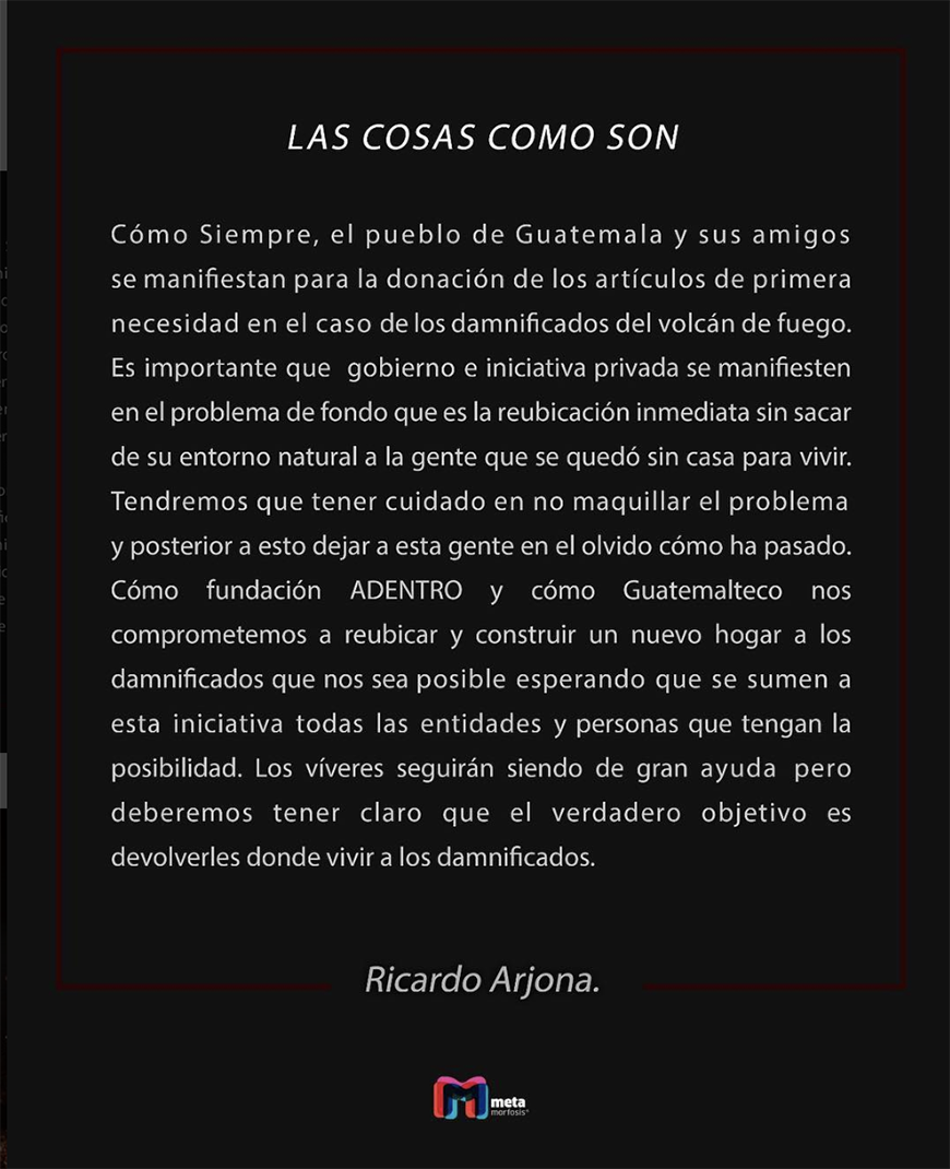 Comunicado de Ricardo Arjona sobre Guatemala