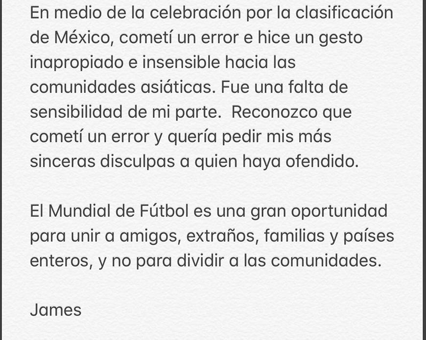 Carta de disculpas de Chef James