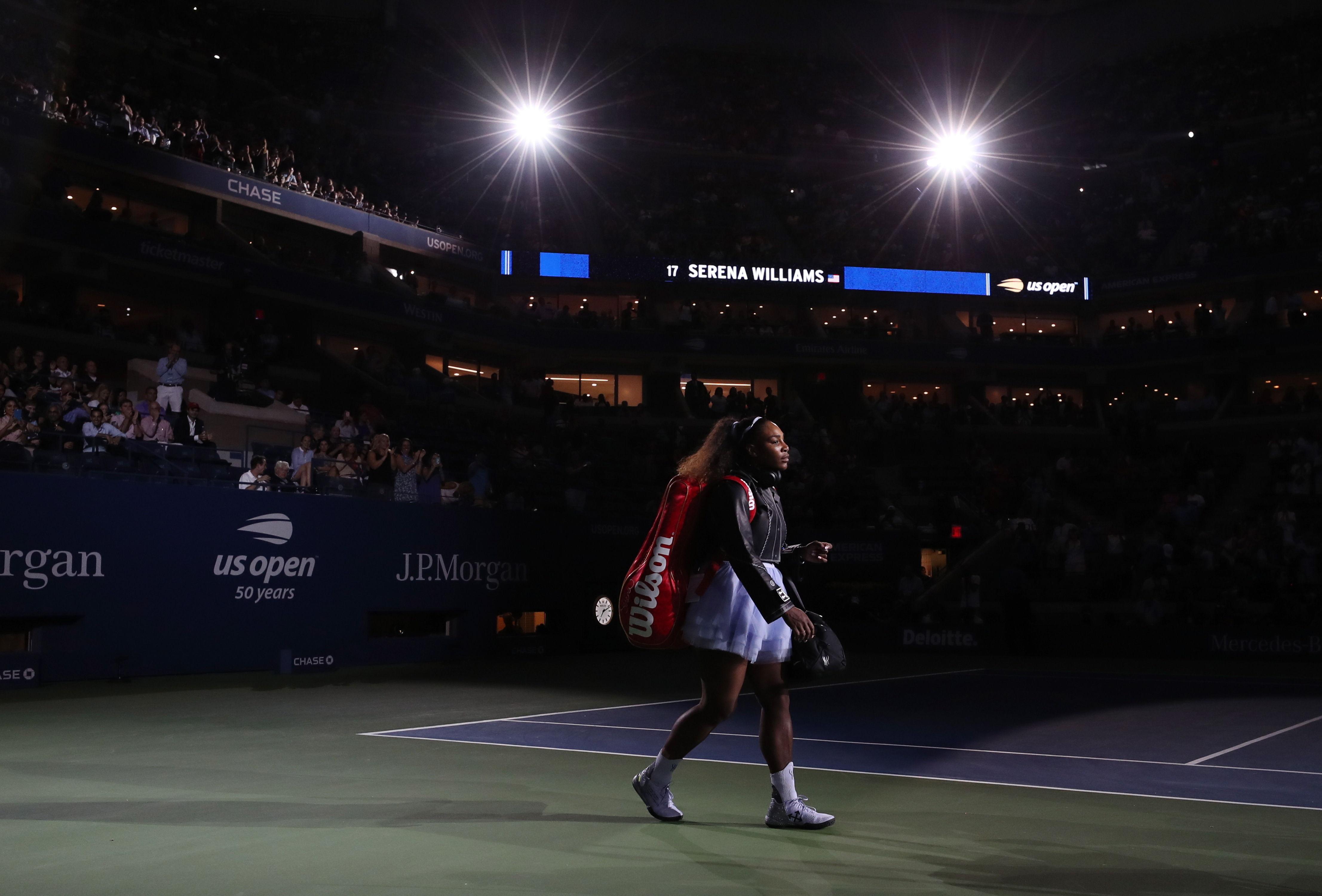 Serena entrando a la pista del Arthur Ashe. / Foto: EFE