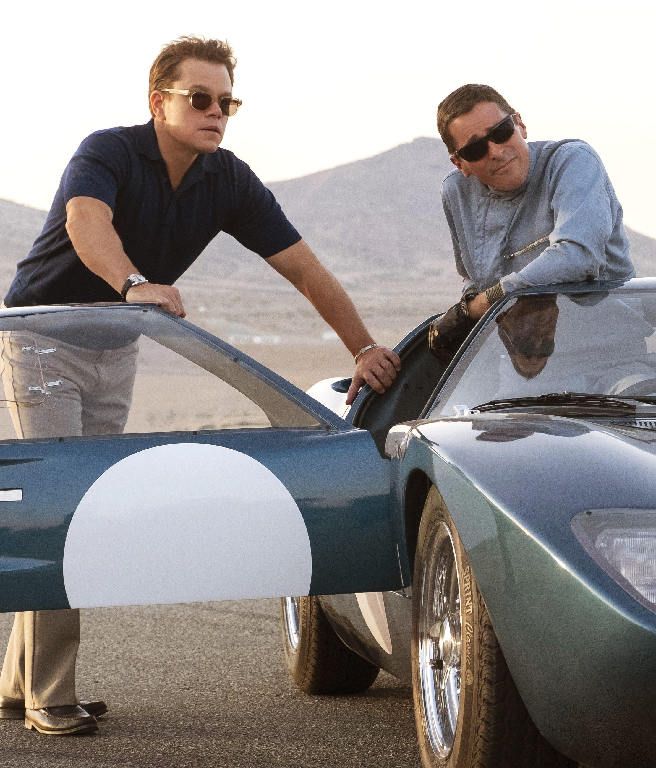 Matt Damon y Christian Bale en el set de Ford v Ferrari. / Foto: Twentieth Century Fox