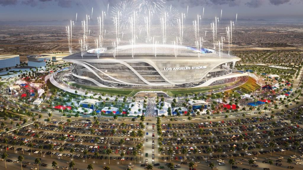 En este dibujo se puede apreciar el moderna y atractivo diseño del estadio del proyecto de Carson, que sería construido cerca de los freeways 405 y 110.