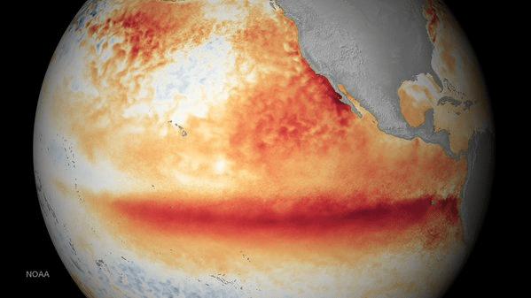 """Imagen satelital que muestra el """"Jet Stream"""" que predice un fuerte El Niño para el año entrante./ NOAA"""