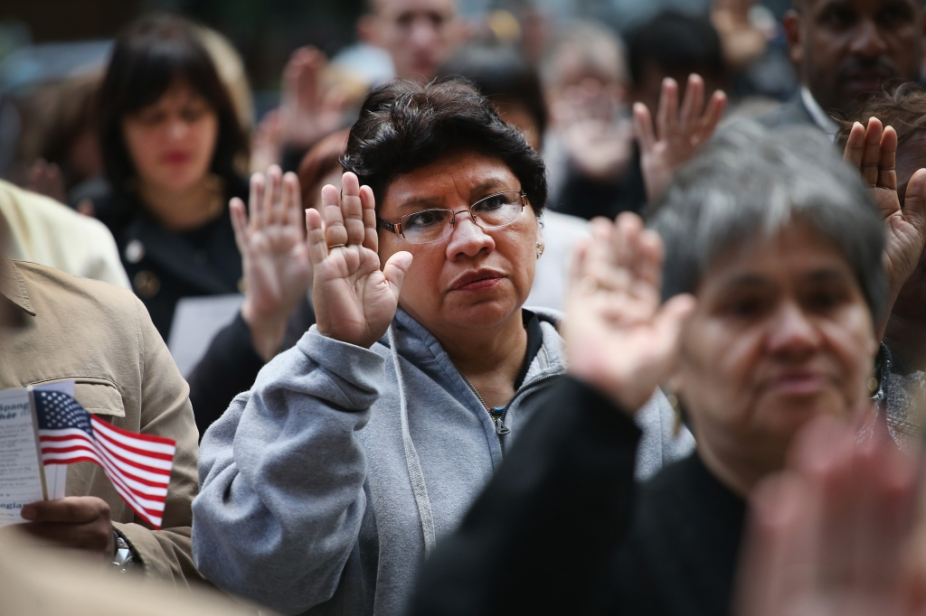 Naturalization Ceremony Held In Chicago's Daley Plaza