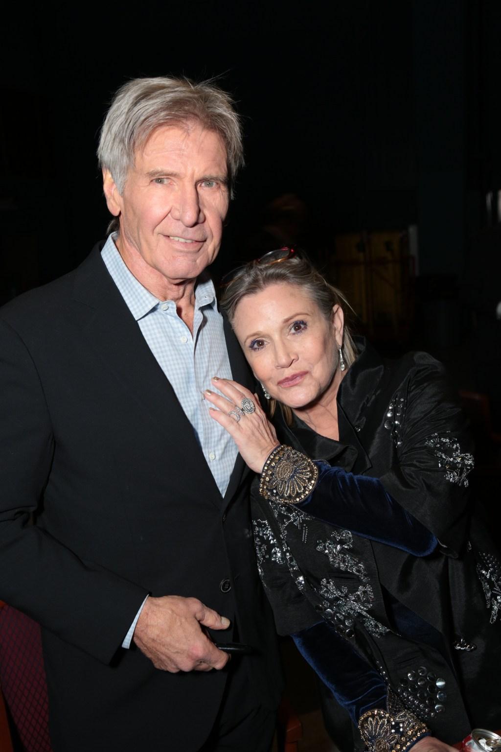 Harrison Ford y Carrie Fisher, Han Solo y la princesa Leia, ahora general.