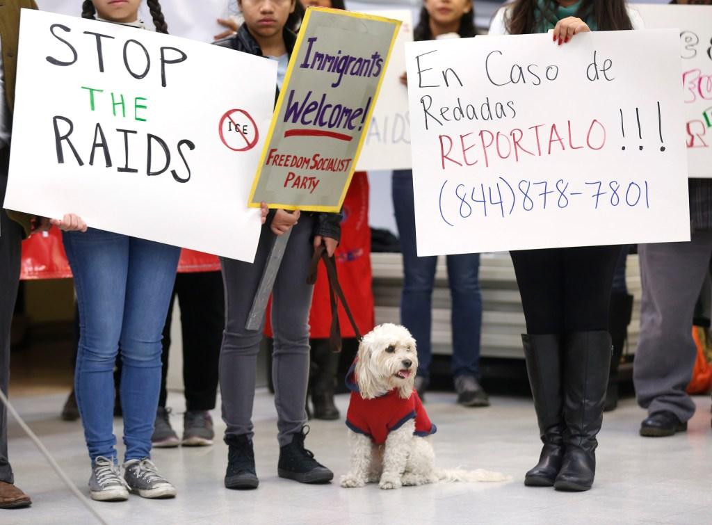 Activistas angelinos piden al gobierno federal detener las redadas que aterrorizan a inmigrantes del sur de California. (Aurelia Ventura/La Opinión)