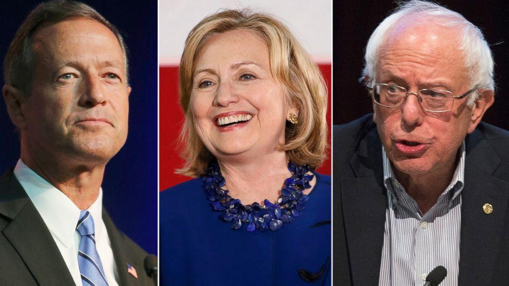 Martin O'Malley, Hillary Clinton y Bernie Sanders, precandidatos presidenciales demócratas.