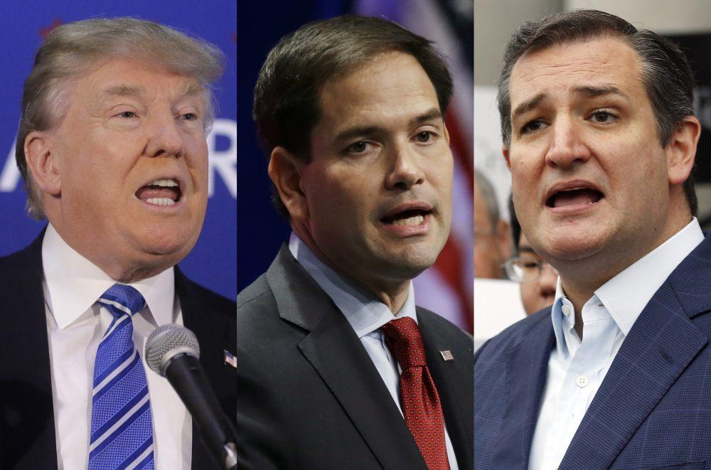 Donald Trump, Marco Rubio y Ted Cruz, precandidatos republicanos presidenciales.