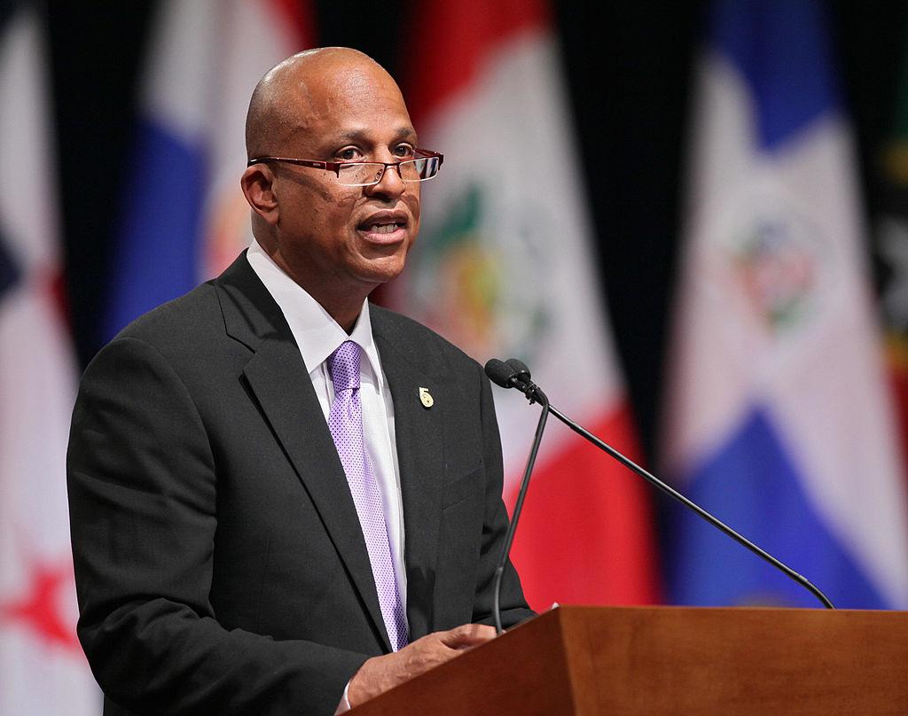 Belize's Prime Minister Dean Barrow give