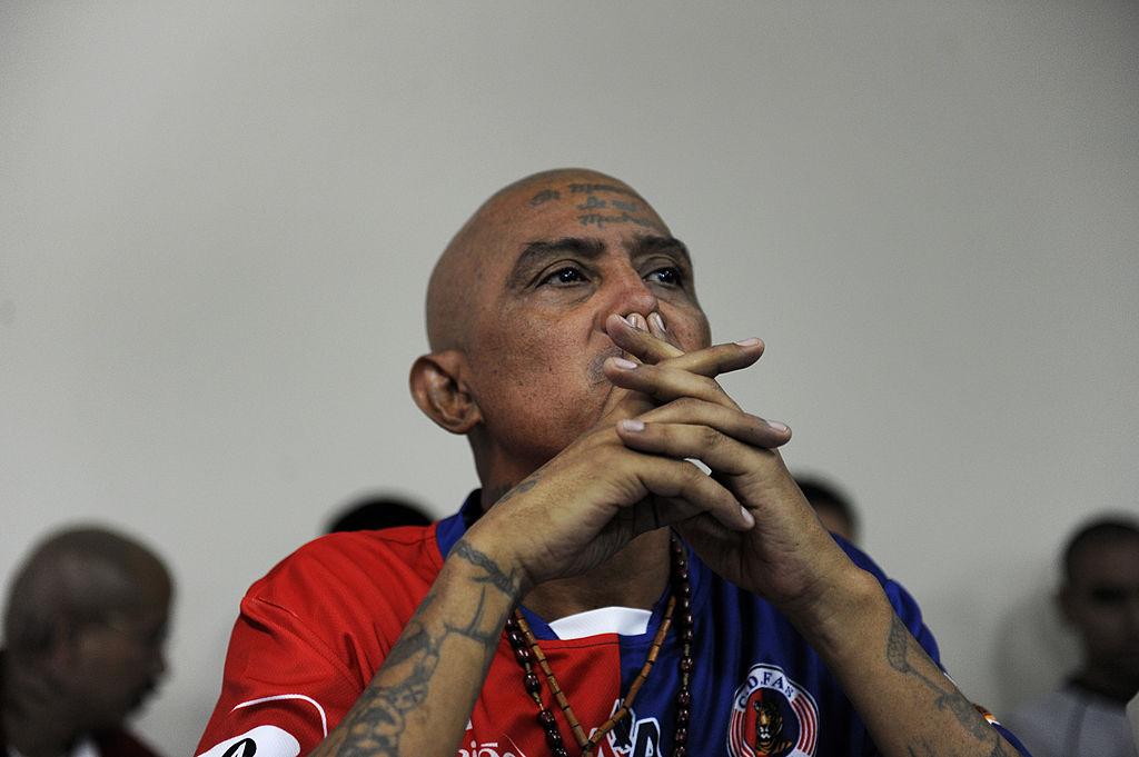 El Viejo Lin, uno de los líderes del Barrio 18, en una cárcel de El Salvador.