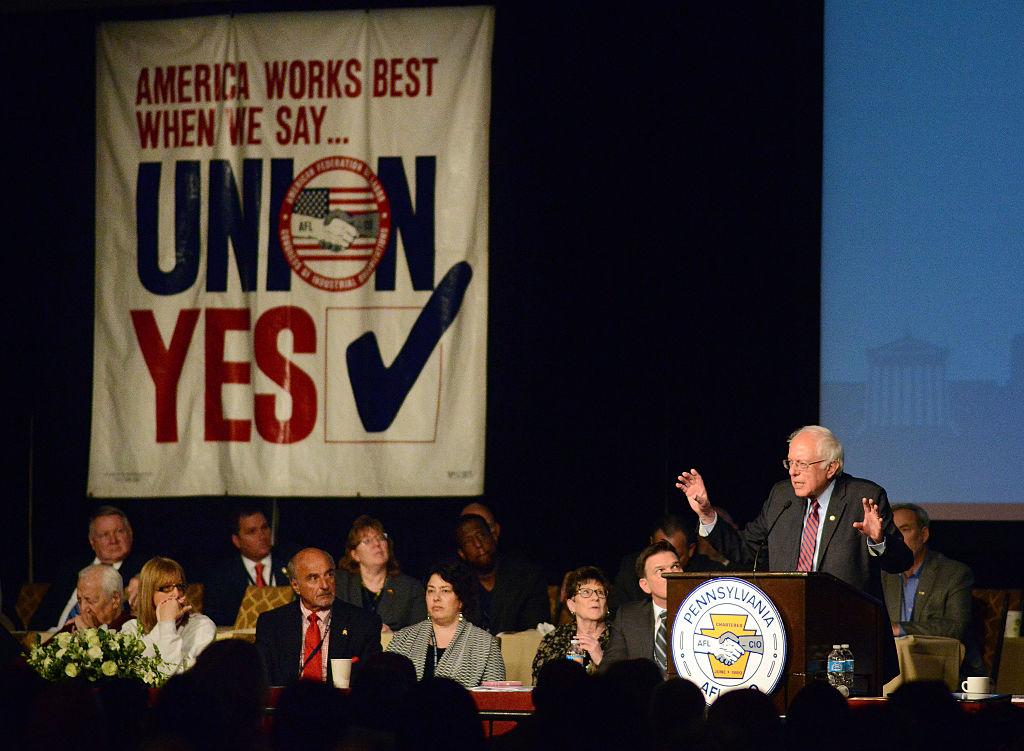 Bernie Sanders habla a los participantes de la Convención de AFL-CIO en Filadelfia. Foto> Getty