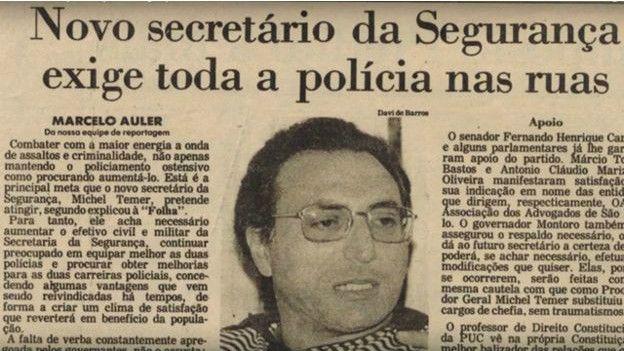 Temer saltó a la vida pública como procurador y secretario de seguridad de Sao Paulo.