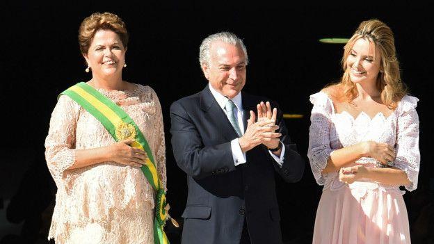 Temer junto a su esposa Marcela, 42 años menor, el día de la segunda juramentación de Dilma Rousseff.