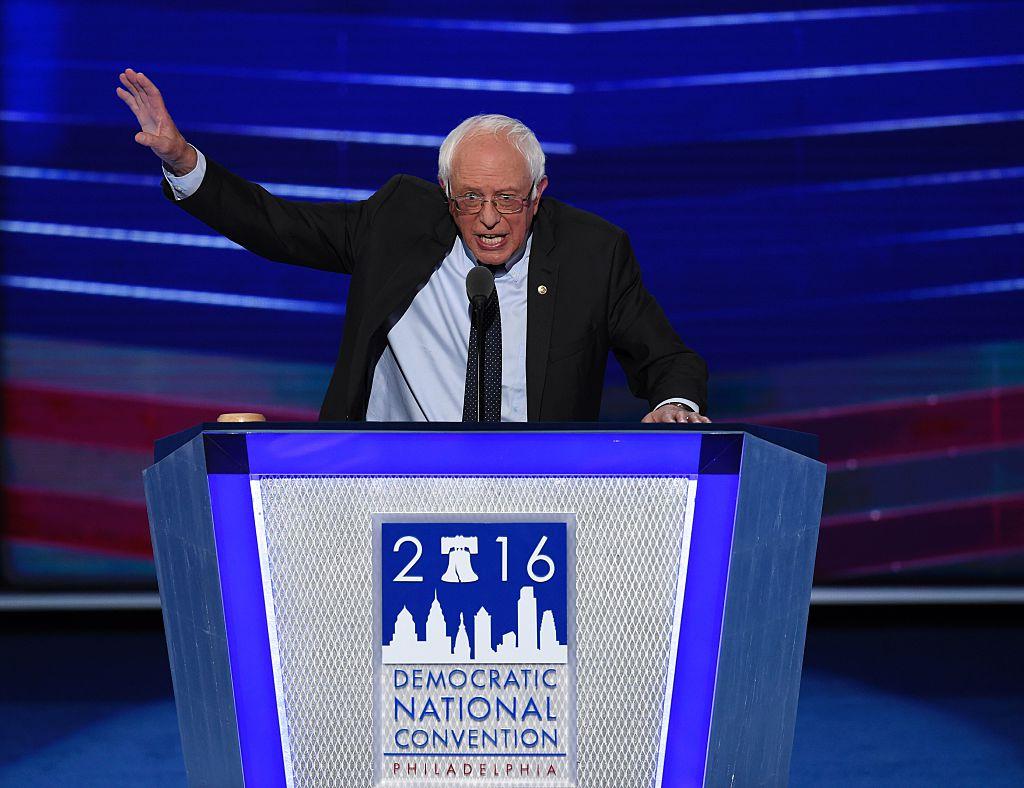 Bernie Sanders durante su discurso en la Convención Nacional Demócrata.