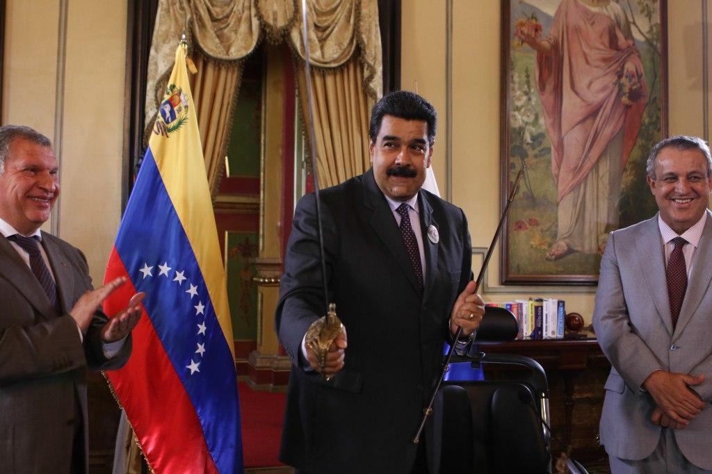 El presidente de Venezuela Nicolás Maduro en el Palacio de Miraflores.