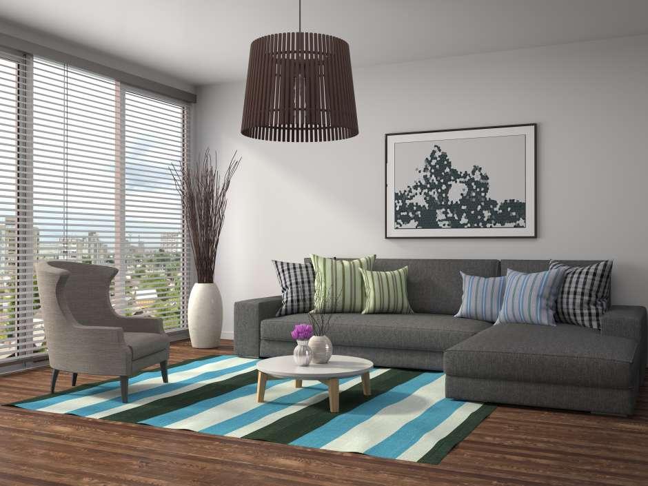 Las alfombras se usan para agrupar los muebles y darle una dirección a su ubicación en cada espacio.