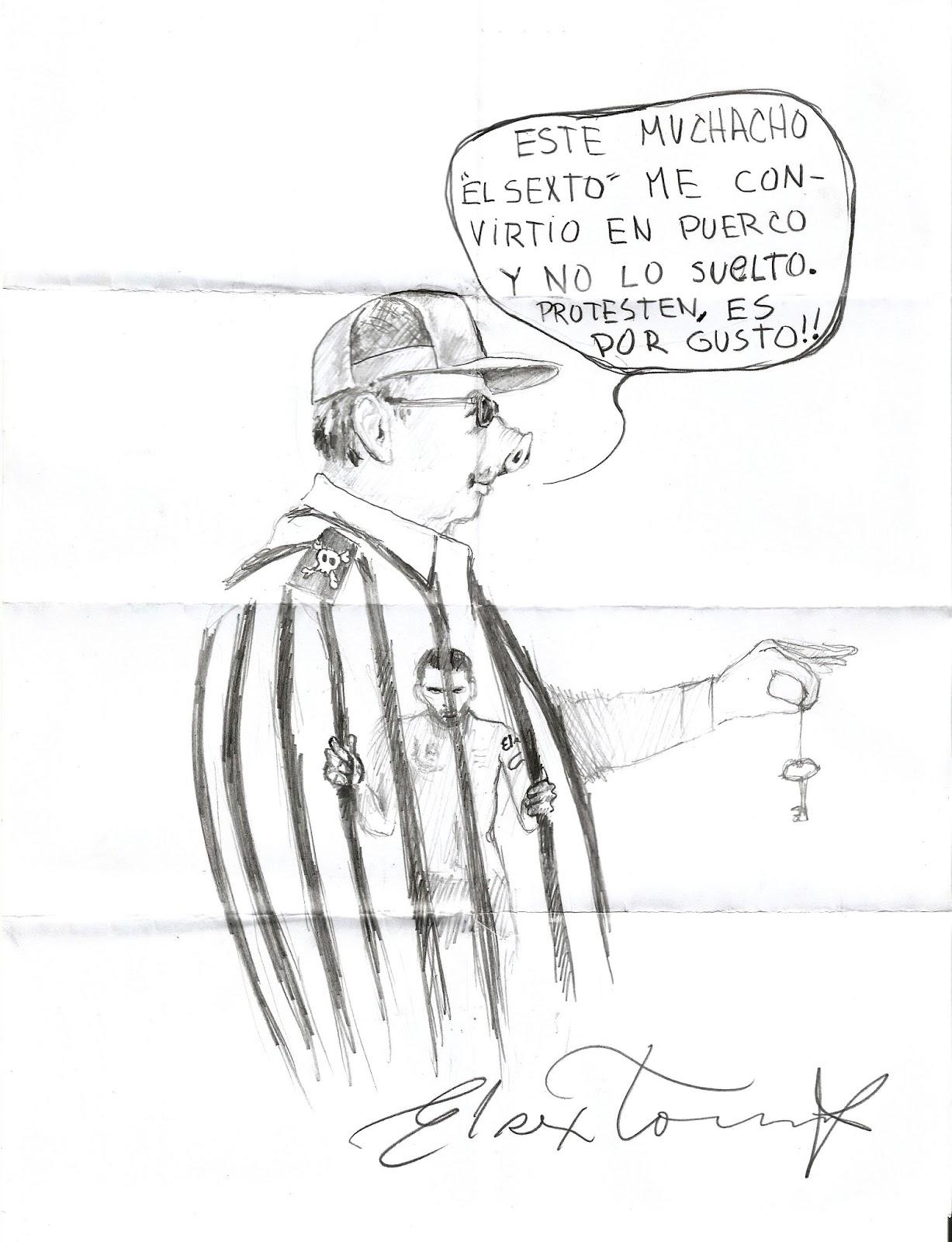 """Dibujos de """"El Sexto"""" en la prisión de Valle Grande. Cortesía de Danilo Maldonado"""