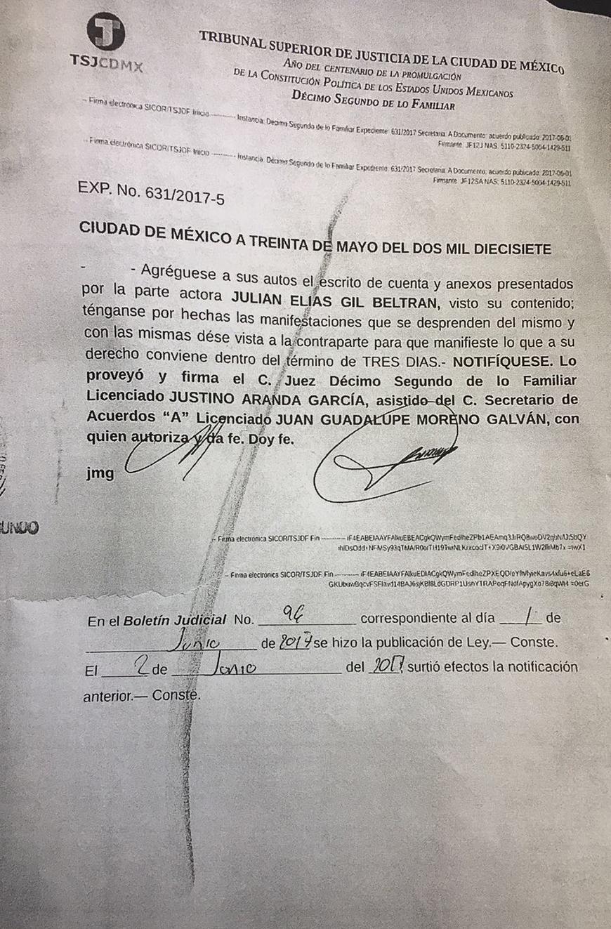 documentos de julián Gil en la Corte