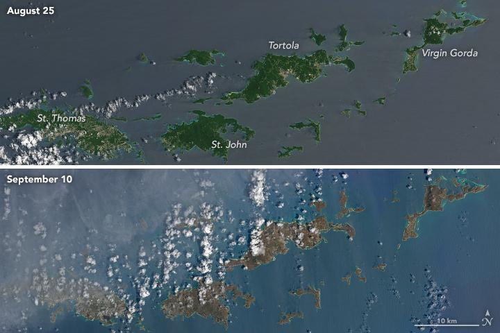 Las Islas Vírgenes el 25 de agosto y el 10 de septiembre de 2017, antes y después de que pasara el huracán Irma.
