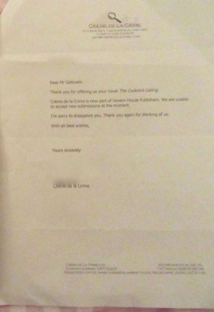 Carta de rechazo de la obra de JK Rowling al principio de su carrera.