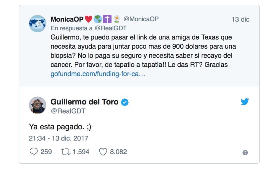 Tweet de Guillermo del Toro en respuesta a la petición de colaboración para pagar una biopsia.