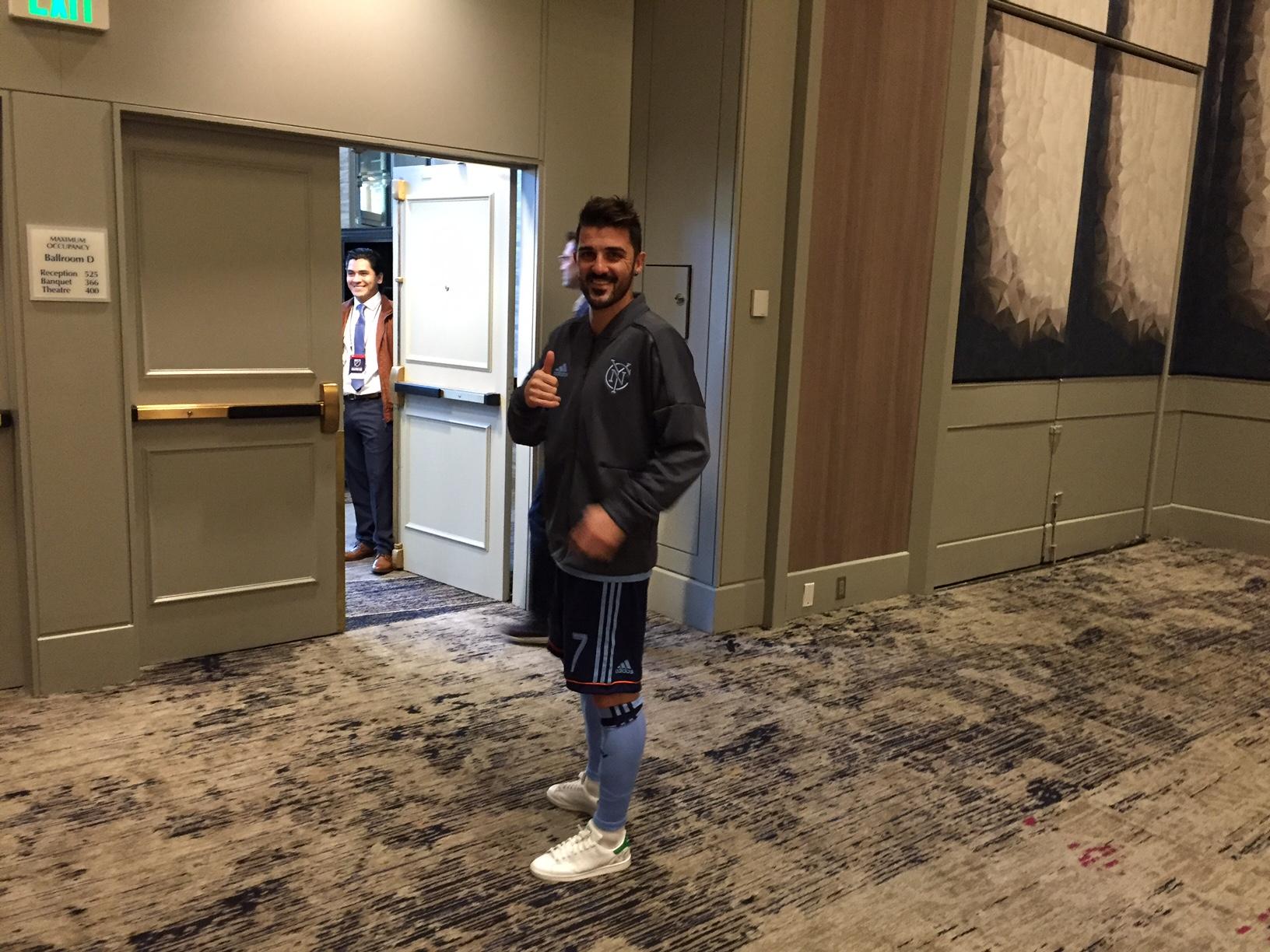 """David """"El Guaje"""" Villa estuvo presente en el Día de Medios de la MLS"""