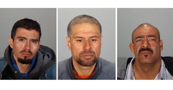 Los detenidos: Adan Martínez. Ignacio Moreno y Jorge Gallegos. (Policía de Glendale)