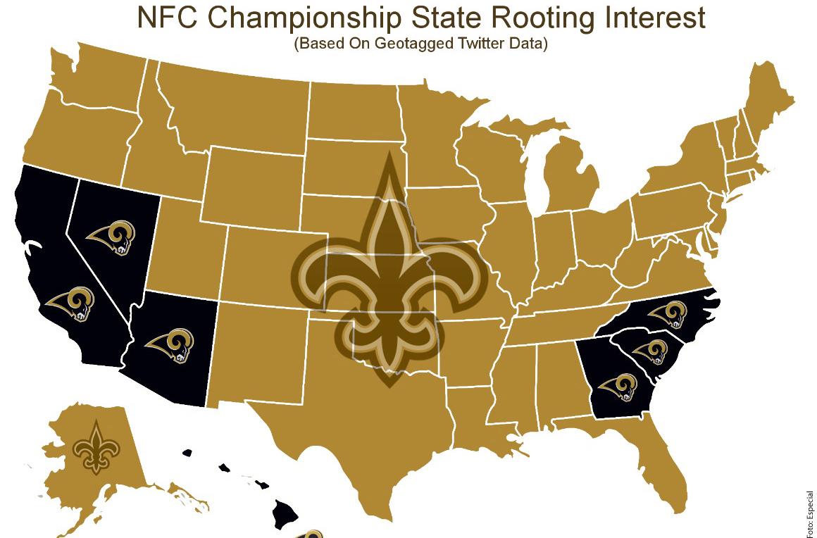 La mayoría de los aficionados en Estados Unidos están con New Orleans Saints