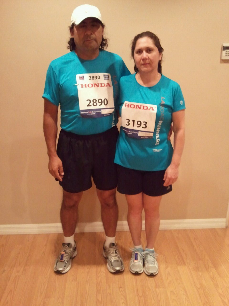 José Luis y Guadalupe Cadena en el maratón de Los Ángeles 2009. (Foto suministrada).