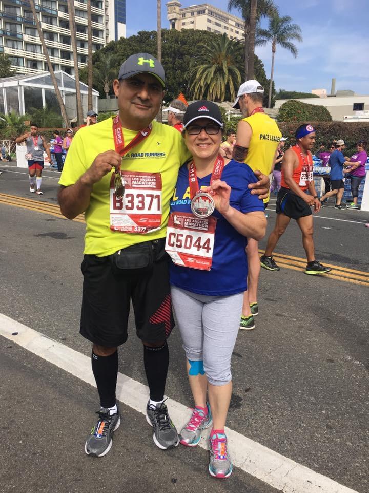 José Luis y Guadalupe Cadena corren el maratón de Los Ángeles para escapar de la diabetes. (Foto suministrada).