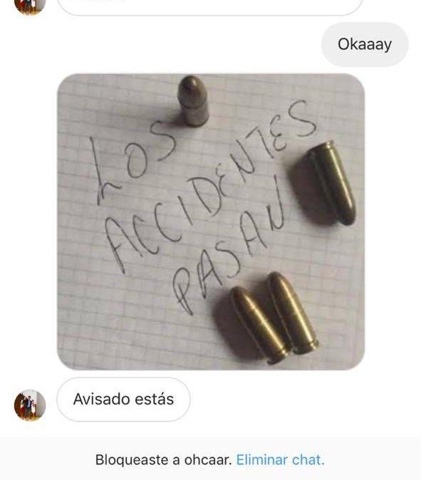 """Parte del mensaje que recibió la hija de Miguel """"Piojo"""" Herrera."""